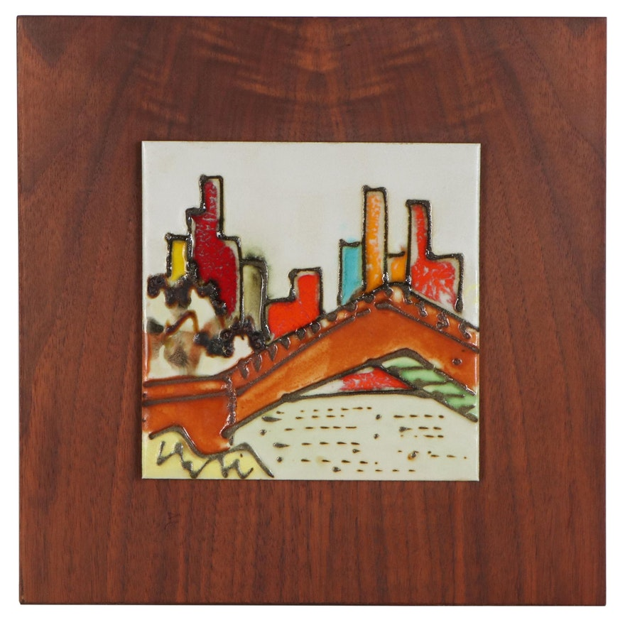 Glazed Ceramic Tile of City Skyline, Late 20th Century