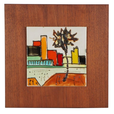 Glazed Ceramic Tile of City Skyline, Late 20th Century