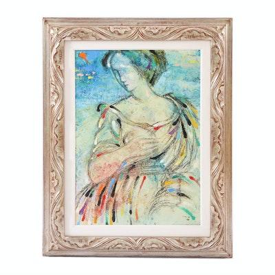 "Lazzaro Donati Mixed Media Painting ""Raffaella,"" 20th Century"