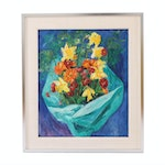 Impasto Oil Painting of Bouquet Still Life, 20th Century