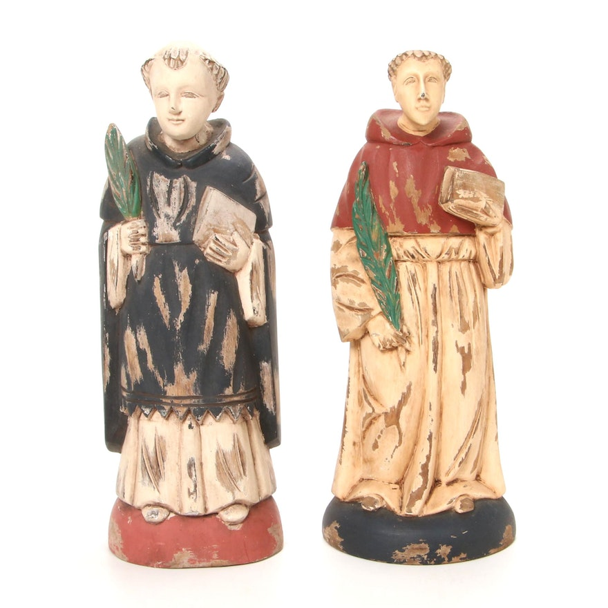 Hand-Carved Polychrome St. Dominic and St. Anthony Wooden Wall Mounted Santos