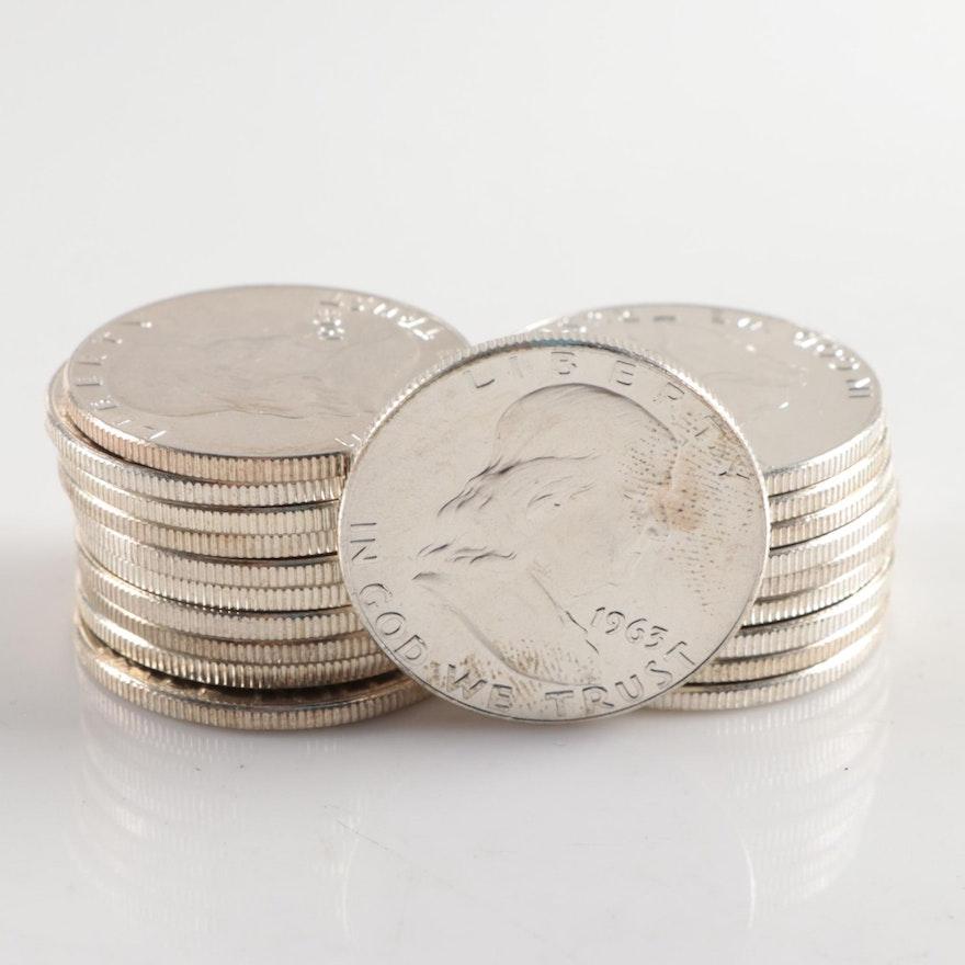 Twenty 1963-D Uncirculated Franklin Silver Half Dollars