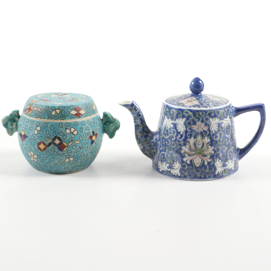 Chinese Enameled Porcelain Teapot and Lidded Jar, Mid to Late 20th C.