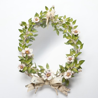 Italian Toleware Floral Wreath and Lovebird Oval Wall Mirror, Mid-20th Century