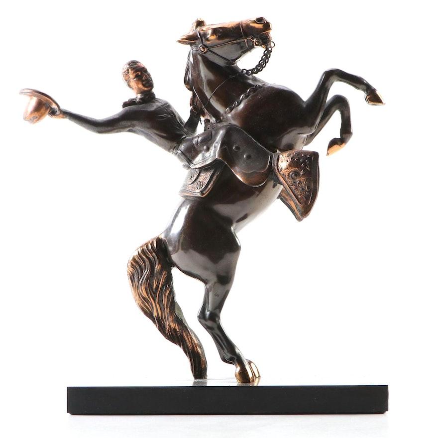 Cast Metal Cowboy Sculpture with Copper Wash Accents