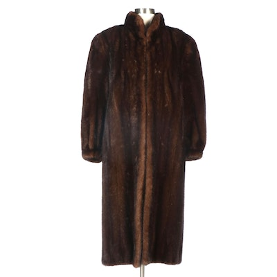 Mink Fur Coat with Banded Cuffs and Embroidered Lining