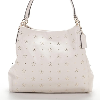 Coach All Over Stud Phoebe Tote in Off-White Leather