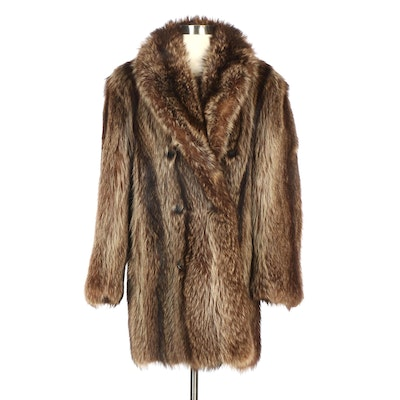 Raccoon Fur Double-Breasted Coat from Furs by Clyde Burtrum