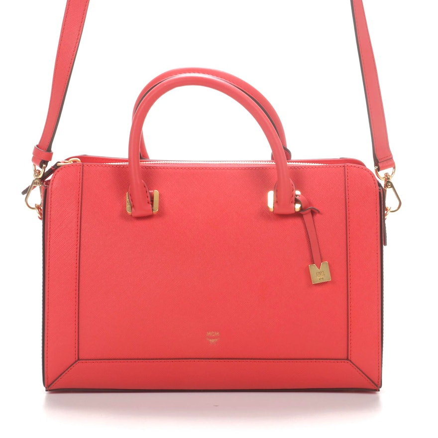 MCM Saffiano Leather Two-Way Satchel in Poppy Red
