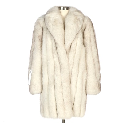Natural Blue Fox Fur Stroller with Shawl Collar