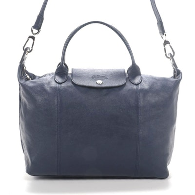 Longchamp Le Pliage Cuir Navy Leather Convertible Tote Bag