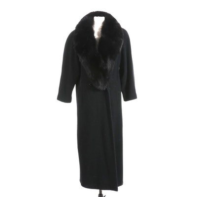 Regency Cashmere Blend Coat in Black with Fox Fur Collar