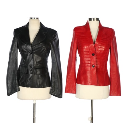 Escada Black Leather and Red Leather Button-Front Jackets
