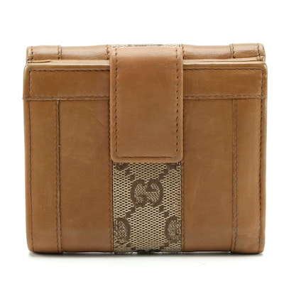 Gucci French Wallet in Light Brown Leather and GG Canvas