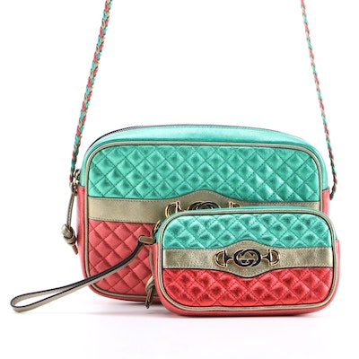 Gucci Trapuntata Camera Bag and Wristlet in Metallic Quilted Leather