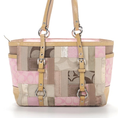 Coach Tote Bag in Signature Patchwork Canvas and Patent Leather