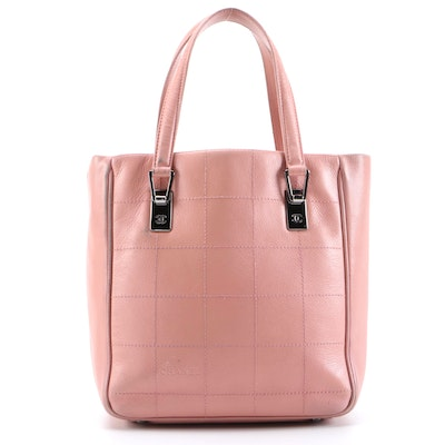 Chanel Pink Square Stitch Chocolate Bar Caviar Leather Tote Bag