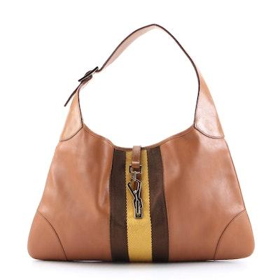 Modified Gucci Jackie Tan Leather Hobo Bag with Yellow/Brown Web Stripe