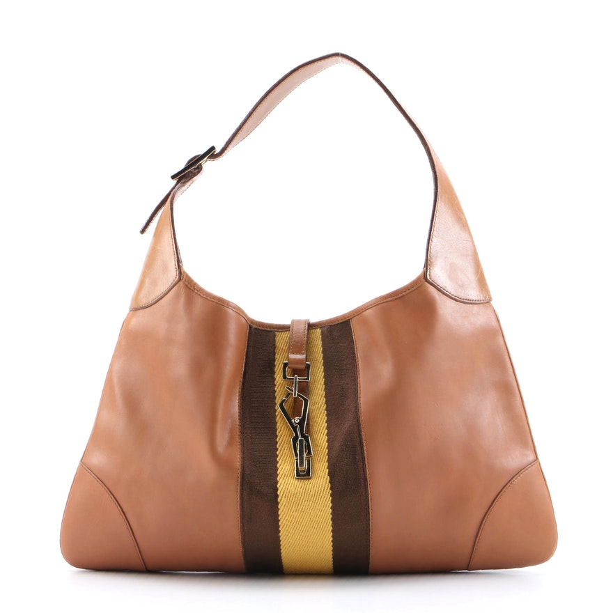 Modified Gucci Jackie Tan Leather Hobo Bag with Yellow/Brown Web Stripe