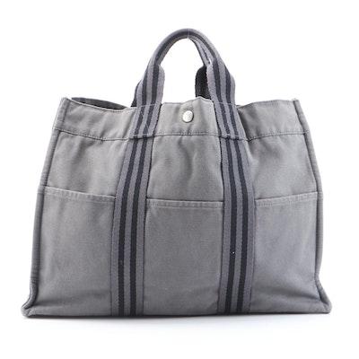 Hermès Paris Fourre Tout GM Tote in Grey Cotton Canvas