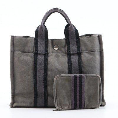 Hermès Paris Fourre Tout MM Tote and Wallet in Grey Canvas