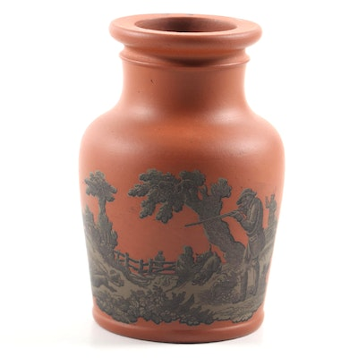 English Prattware Terracotta Paste Jar, 1856
