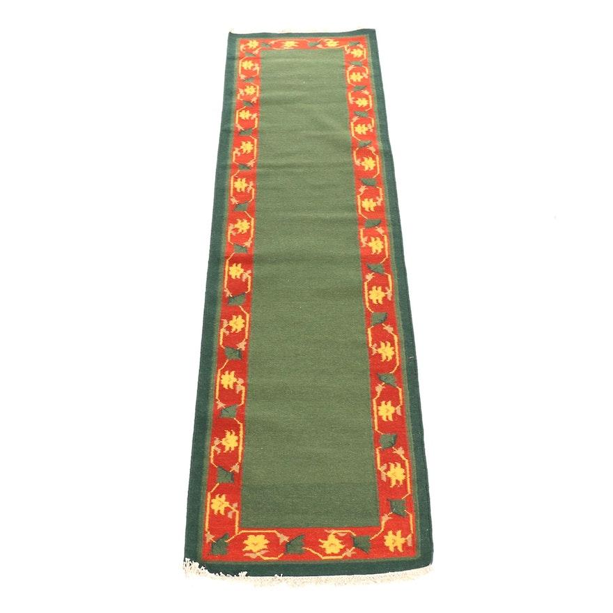 2'7 x 9'6 Handwoven Floral Wool Runner
