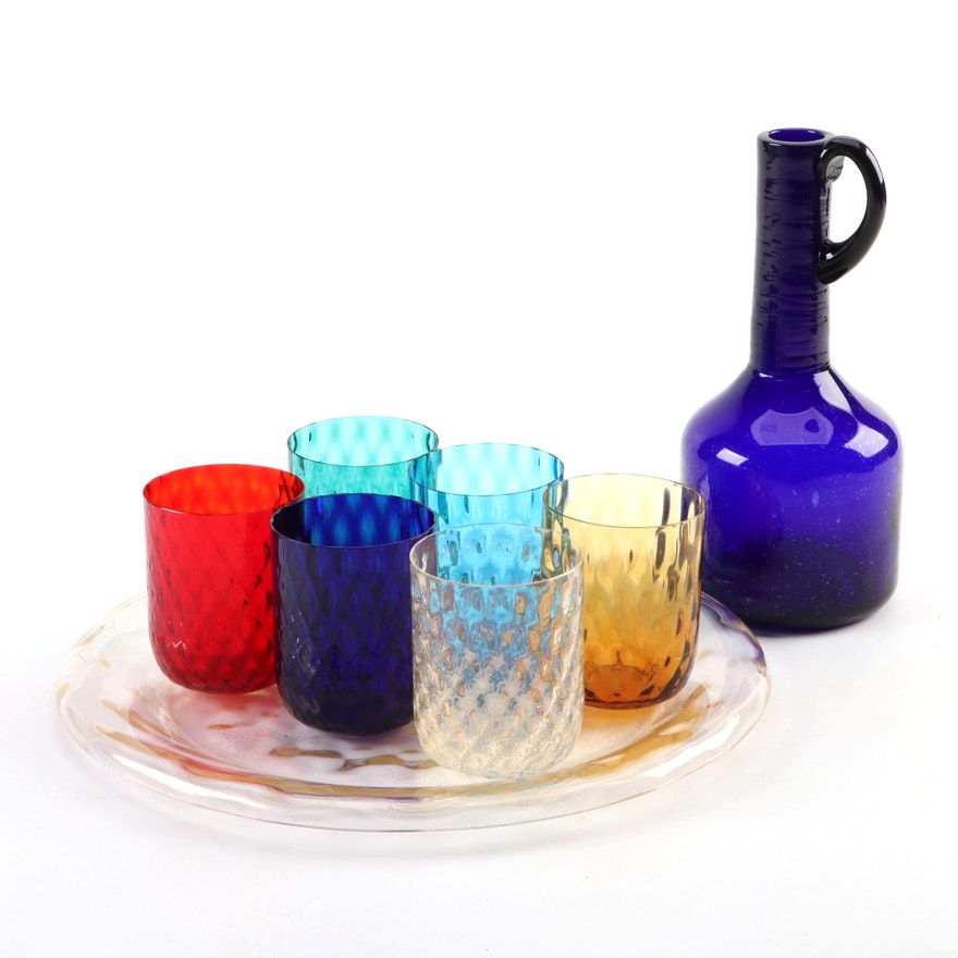 Ars Cenedese Handblown Glass Plate with Other Murano Glasses and Jug