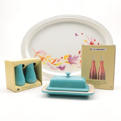 Le Creuset Turquoise Stoneware Table Accessories and Floral Decorated Oval Tray