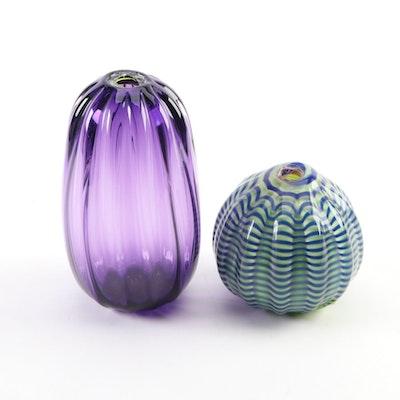 Chatham Glass Co. Handblown Melon-Shaped Vase Décor, Late 20th C.