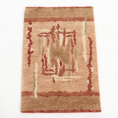 2' x 3' Hand-Knotted Abstract Wool Accent Rug