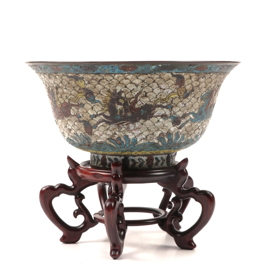 Ming Dynasty Style Fish Scale Cloisonné Bowl