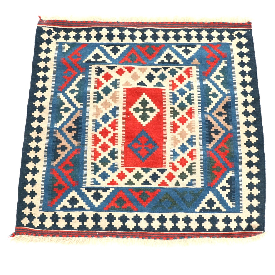 3'4 x 3'6 Handwoven Persian Kilim Wool Rug