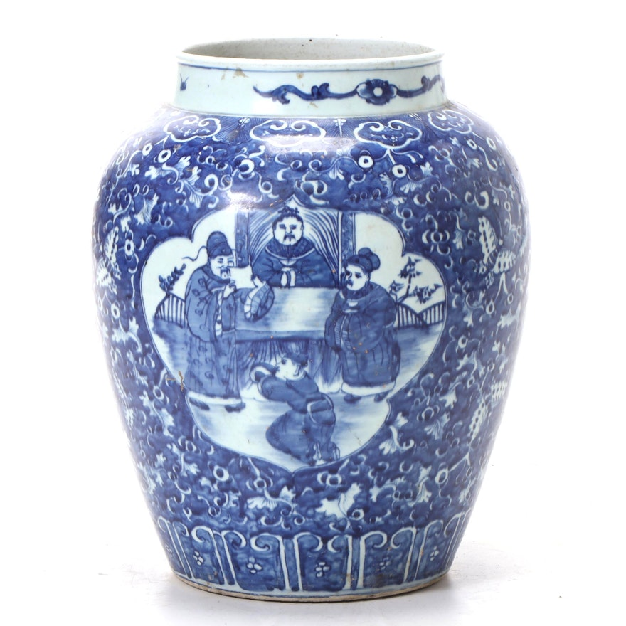 Chinese Blue and White Porcelain Ginger Jar with Immortals, 20th Century