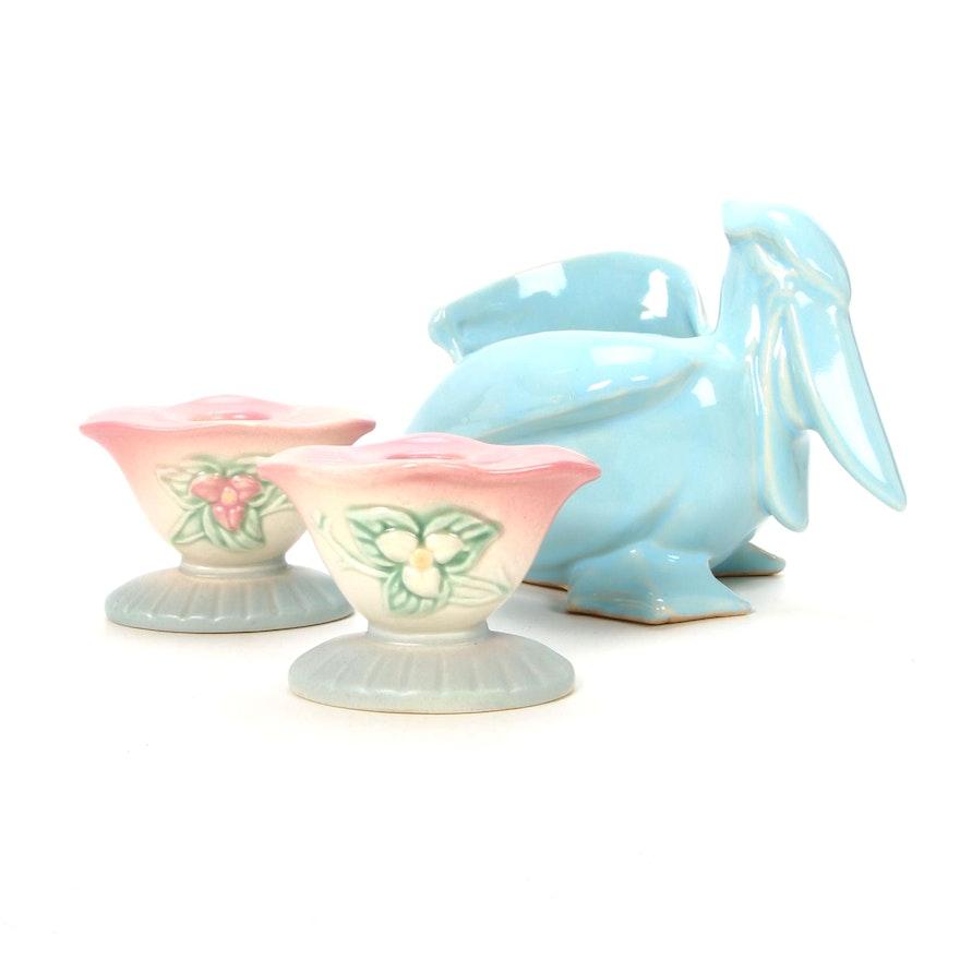 McCoy Ceramic Planter and Candlesticks, Mid-20th Century