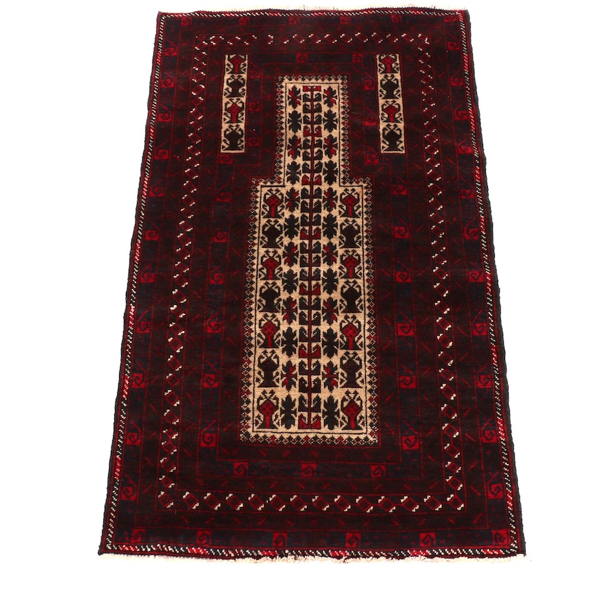 2'10 x 4'10 Hand-Knotted Balouchi Wool Area Rug