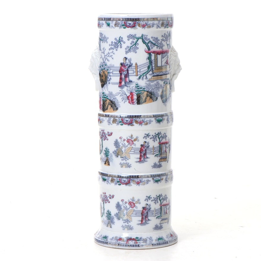 Chinoiserie Umbrella Stand with Hand-Painted Accents, Antique