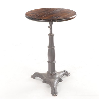 Iron High Top Table with Pine Top, 20th Century