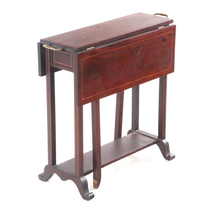 Sheraton Style Mahogany Veneer Drop Leaf Tea Table, Early to Mid 20th Century