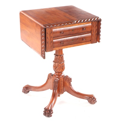 American Empire Walnut Carved Two Drawer Drop Leaf Side Table, Mid-Late 19th C.