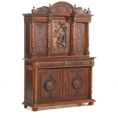 Italian Renaissance Revival Relief-Carved Walnut and Other Hardwoods Buffet