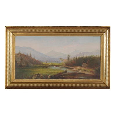 Bucolic and Mountainous Landscape Oil Painting, Early 20th Century
