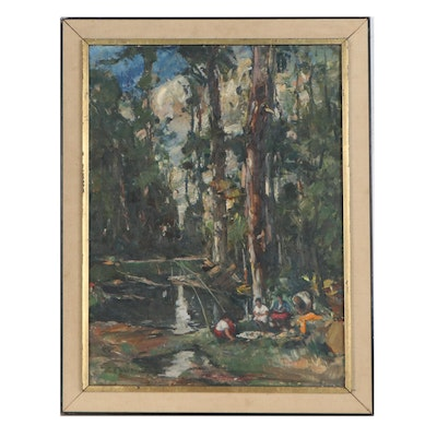Oil Painting of Campers Near Forest River, Mid-20th Century