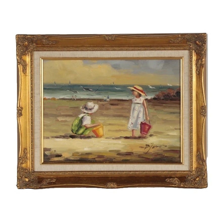 D. Jones Oil Painting of Children at the Beach, Late 20th Century