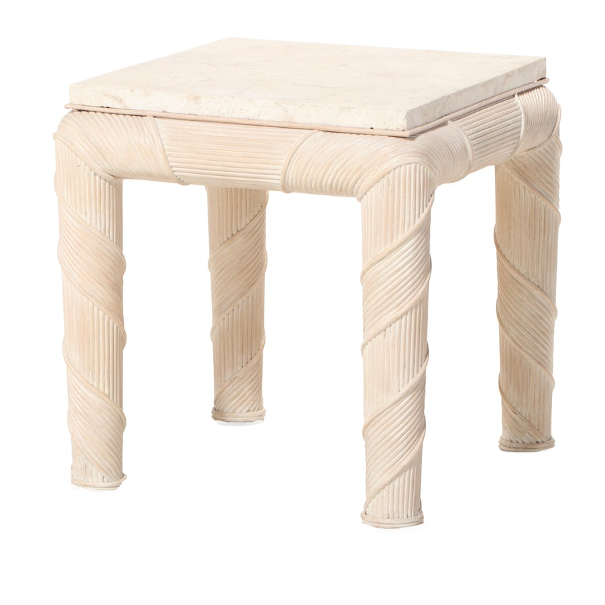 Bamboo-Wrapped and Stone Top Side Table