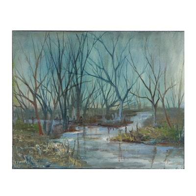 Farshad Lanjani Oil Painting of Marshy Landscape, 21st Century