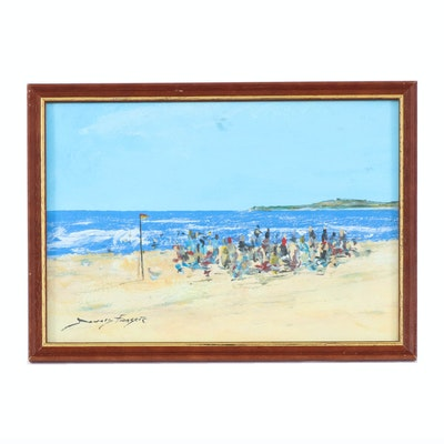 Donald Fraser Oil Painting of Beach Scene
