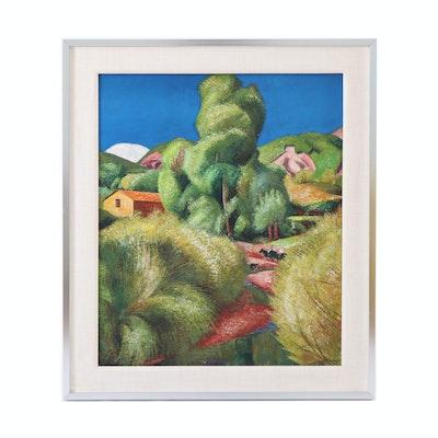 """M. Villa Oil Painting """"Ainsa,"""" 1963"""