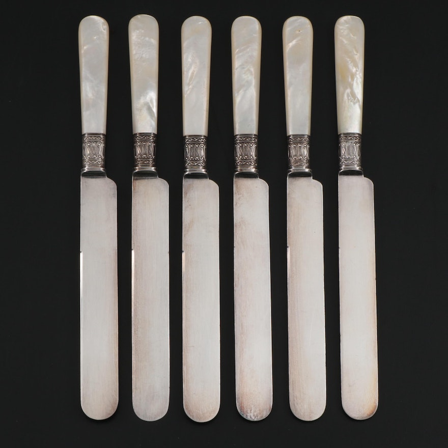 Mother of Pearl and Sterling Silver Handled Dinner Knives, Early 20th C.
