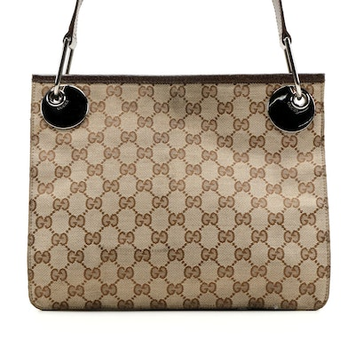 Gucci GG Canvas Shoulder Bag with Leather Trim